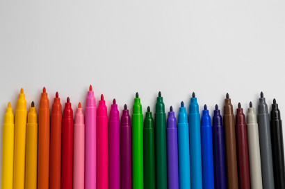 Colorful sketch pens on white background